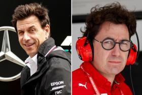 Mercedes boss Toto Wolff (left) and Ferrari's Mattia Binotto.