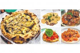 (Clockwise from left) Pizza 'La Scala' al Tartufo Nero, Vitello Tonnato, Veal 'Ossobuco' in Gremolata, Mezzi Rigatoni Amatriciana and bruschetta al Pomodoro.