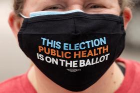 A protester at a demonstration for patient and staff safety outside a hospital in Westminster, California.