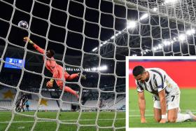 Cristiano Ronaldo scored Juventus' second goal with a long-range shot (left) but it was not enough to prevent them from crashing out of the Champions League.