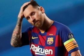 Lionel Messi feeling dejected after Barcelona suffered their worst defeat in Europe, when they lost to Bayern Munich 8-2 in the Champions League quarter-finals last Friday.