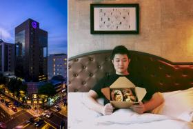 (From left) The Hotel G Singapore facade. The #burgersinbed package.