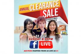 Unlock more clearance deals with influencers Alvina, Tyler and Alicia during Gain City's first Facebook Live auction on Sunday from 8pm.