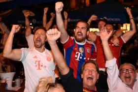 Bayern Munich fans celebrating after Kingsley Coman scored against Paris Saint-Germain in the Champions League final. The Frenchman's effort turned out to be the match-winner.