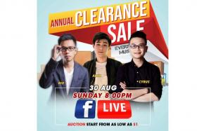 Catch the second Gain City Facebook Live auction with influencers Rio, Arya and Cyrus on Sunday.