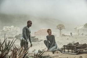 Abubakar Salim (left) and Amanda Collin in Raised By Wolves