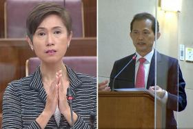 Non-Constituency MP Leong Mun Wai (right) said his issue was with the impact of each year's crop of new citizens and PRs on the existing population, while Manpower Minister Josephine Teo suggested Singaporeans should instead look at the bigger picture on the increased proportion of locals in PMET jobs.