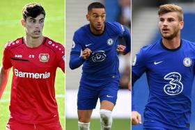 From left, Chelsea new boys Kai Havertz, Hakim Ziyech and Timo Werner.