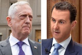 (From left) Former US Secretary of Defence Jim Mattis and Syrian President Bashar Al-Assad.