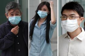 (From left) Principal of the now-defunct Zeus Education Centre Poh Yuan Nie and two tutors - Fiona Poh Min and Feng Riwen - were each found guilty of 27 counts of cheating.