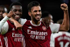 Arsenal pair Eddie Nketiah (left) and Dani Ceballos clashed during the warm-up at newly promoted Fulham last week, before combining for the winner against West Ham United a week later.