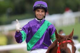 Jockey Joao Moreira giving the No. 6 sign after last-race winner Excellent Proposal gave him his sixth win at Sha Tin yesterday. The ''Magic Man'' also scored on Skyey Supreme (Race 2), Fabulous Eight (Race 3), Scores Of Fun (Race 6), Armor Star (Race 7) and The Rock (Race 8).