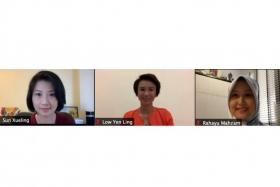 Ms Sun Xueling, Ms Low Yen Ling and Ms Rahayu Mahzam at a virtual dialogue yesterday titled Conversations On Women Development, the first in a series that aims to gather feedback on issues that affect women in the home, school, workplace and community.