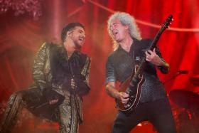 Adam Lambert (L) and Brian May of Queen perform onstage at the 2019 Global Citizen Festival at Central Park in New York, U.S., September 28, 2019.