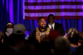 Rapper Kanye West holds his first rally in support of his presidential bid in North Charleston, South Carolina, U.S. July 19, 2020.