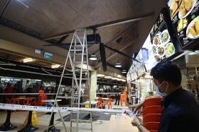 Two injured at Tampines coffee shop after ladder hits ceiling fan