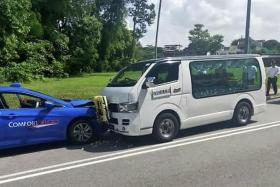 Hearse carrying coffin collides into taxi