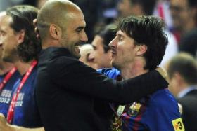 A reunion between Pep Guardiola and Lionel Messi, seen in this 2012 file picture, has been bandied about since the Argentinian expressed his unhappiness at Barcelona recently.