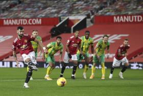 Bruno Fernandes misses the penalty which was later retaken in Manchester United's 1-0 win over West Bromwich Albion.