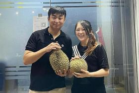 Selling seasonal durians during Covid-19