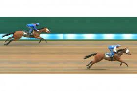 Pindus winning Trial 2 easily at Kranji on Tuesday morning.