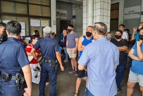 Covid-19: Cops disperse crowd outside school uniform shop