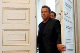 Austrian Chancellor Sebastian Kurz receives actor Arnold Schwarzenegger at the Chancellery in Vienna, Austria, January 28, 2020.