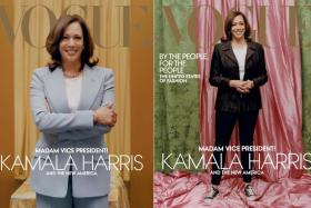 This combination of pictures created on January 12, 2021 shows two handout photo obtained on January 12, 2021 courtesy of Vogue, of US Vice President-elect Kamala Harris in a Michael Kors Collection suit on the February 2021 cover of Vogue magazine(L) and against colors inspired by those of her Howard university sorority, Alpha Kappa Alpha, Vice President–elect Kamala Harris(R) as she wears a Donald Deal jacket and Converse sneakers on the February 2021 cover of Vogue magazine.