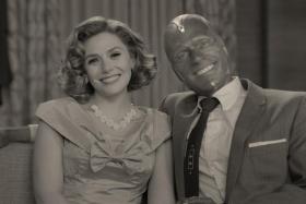 Elizabeth Olsen (left) and Paul Bettany in WandaVision