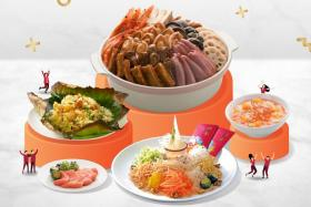 The Treasure Pot Pen Cai Set includes Prosperity Yu Sheng with smoked salmon, lotus leaf fried rice with chicken sausage, dried shrimp, mushroom and chestnut, and ai yu jelly cocktail with mandarin orange.