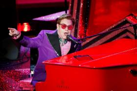 """Elton John performs """"(I'm Gonna) Love Me Again"""" from Rocketman during the Oscars show at the 92nd Academy Awards in Hollywood, Los Angeles, California, U.S., February 9, 2020."""