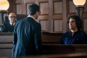 (L-R) Frank Langella, Joseph Gordon-Levitt and Sasha Baron Cohen in The Trial Of The Chicago 7