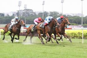 Big Hearted (No. 1) justifying his $9 favourite's tag to win on sheer class in the $85,000 Kranji Stakes B event over 1,400m on turf on Saturday.