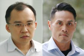 (From left) Kenneth Chong Chee Boon and Nazhan Mohamed Nazi were given 11 and 10 months' jail respectively.