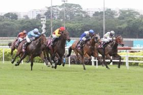 Tiger Roar (far left, jockey in light blue) rushing home to beat Gold Star (No. 10) in Saturday's $70,000 Class 3 race over 1,400m on the long course.