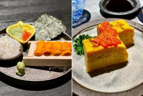 The DIY Hokkaido Uni (left) and Tamagoyaki with Mentaiko Sauce (right).
