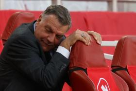 West Bromwich Albion manager Sam Allardyce reacts during the match against Arsenal