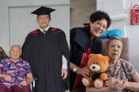 (Left) Dr Aw Yong Keong Poh with his mother after graduating on May 4. (Right) Ms Ng Joon Lin with her mother, who has Alzheimer's disease.