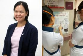 (Left) Dr Hoi Shu Yin. (Right) TTSH staff reading the encouragement boards.