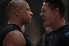 Vin Diesel (left) and John Cena in Fast & Furious 9
