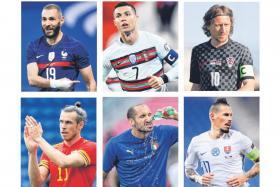 (Clockwise from top left) Benzema, Ronaldo, Modric, Hamsik, Chiellini and Bale