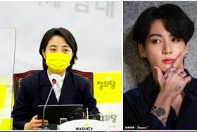 """This image captured on June 10, 2021 from a blog page of South Korean lawmaker Ryu Ho-jeong of the progressive minor Justice party, shows pictures of her (L-top) and tattooed BTS member Jungkook with the title of """"Remove band-aid from BTS' bodies""""."""