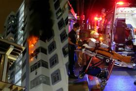 The fire on the seventh storey unit was extinguished using a water jet. Four people were taken to Singapore General Hospital and one to Tan Tock Seng Hospital.