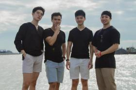 Mr Keith Wo (left) and friends Johann Wah, Glen Ang, and Hwy Kim started sustainable clothing company, Men's Best Friend (MBF), in 2018.