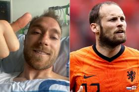 The Danish FA said Christian Eriksen (left) would be fitted with an ICD. Daley Blind (right), his ex-teammate at Ajax Amsterdam, also had an ICD fitted last year.