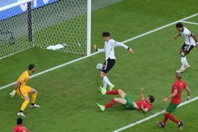Kai Havertz scoring Germany's third goal.