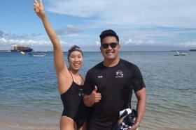 Chantal Liew (left) with her coach Marcus Cheah.