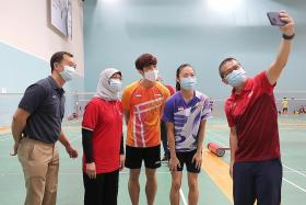 President Halimah shows her support  for Tokyo-bound athletes