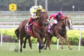 Mr Malek (outside) galloped over the 600m in a flashy 39.7sec.