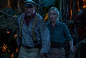 Dwayne Johnson (left) and Emily Blunt in Jungle Cruise
